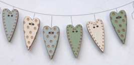 Assorted Heart Buttons (Blue) 6pcs wooden buttons The Bee Company  - $6.00