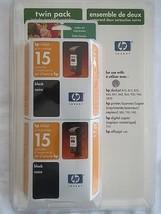HP 15 Black Inkjet EXP 09/2005 Twin-Pack NEW - $21.29