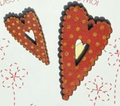 Red Hearts With Peas 2pc wooden The Bee Company  - $5.25