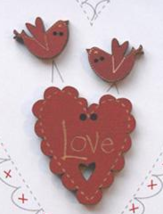 Red Love Heart and Bird Buttons (3pcs) The Bee Company  - $5.25