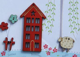 Summer Buttons: 4 Seasons House 5pcs wooden The Bee Company  - $4.75