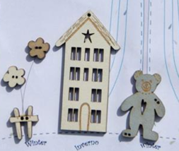 Winter Buttons: 4 Seasons House 5pcs wooden The Bee Company  - $4.75
