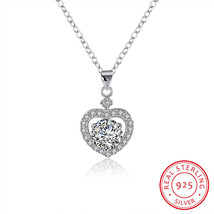 Sterling Silver Pave Cubic Zirconia Mini Heart Necklace - $19.59