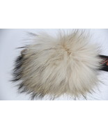 Keychain Purse Charm Genuine Raccoon Fur Large Pom Pom Ivory | Linda Ric... - $50.00