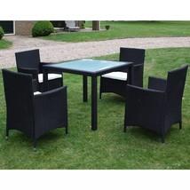 vidaXL Outdoor Dining Set 9 Pieces Poly Rattan Wicker Black Garden Furni... - $347.99