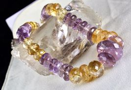 NATURAL CITRINE AMETHYST BEADS FACETED 1 LINE 875 CARATS GEMSTONE NECKLACE image 8
