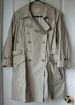 Pre-Owned Converse Women Double Breasted Canvas Trench Pea Coat Beige Si... - $19.79