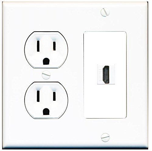 riteav  2 gang decorative  15 amp round power outlet hdmi