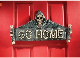 Gothic Goulish Welcome Death Skeleton Grim Reaper GO HOME Wall Sculpture - ₨3,403.48 INR