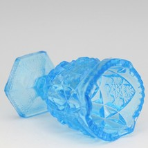 Vintage Glass Toothpick Holder Kemple Press Cut Ice Blue image 2