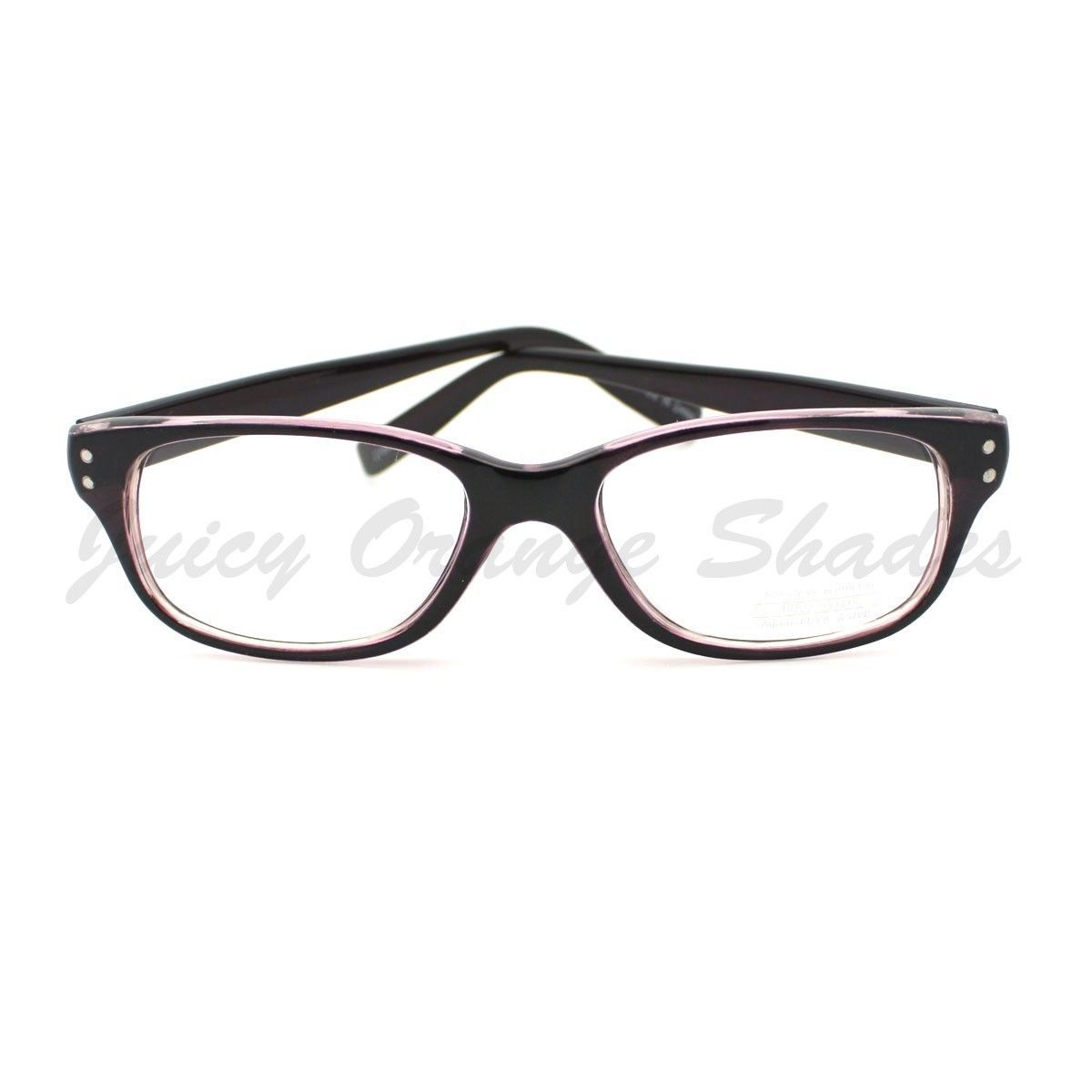Clear Lens Eyeglasses Rectangular Short Horn Rim 2-Tone PURPLE
