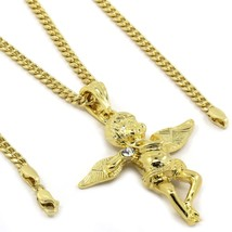 """Mens Gold Plated Side Stone Cz Angel Pendant 3mm 30"""" Cuban Necklace Chain - $14.84"""