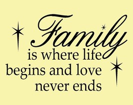 """""""Family Is Where Life ..."""" Vinyl Wall Lettering art Words Decal Quotes - $12.00"""