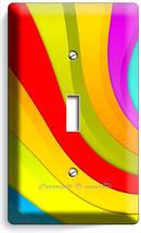 Colorful Swirly Rainbow Single Light Switch Wall Plate Bedroom Room Home Decor - $8.99