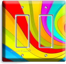 Colorful Swirly Rainbow Double Gfci Light Switch Wall Plate Living Room Decor - $10.79