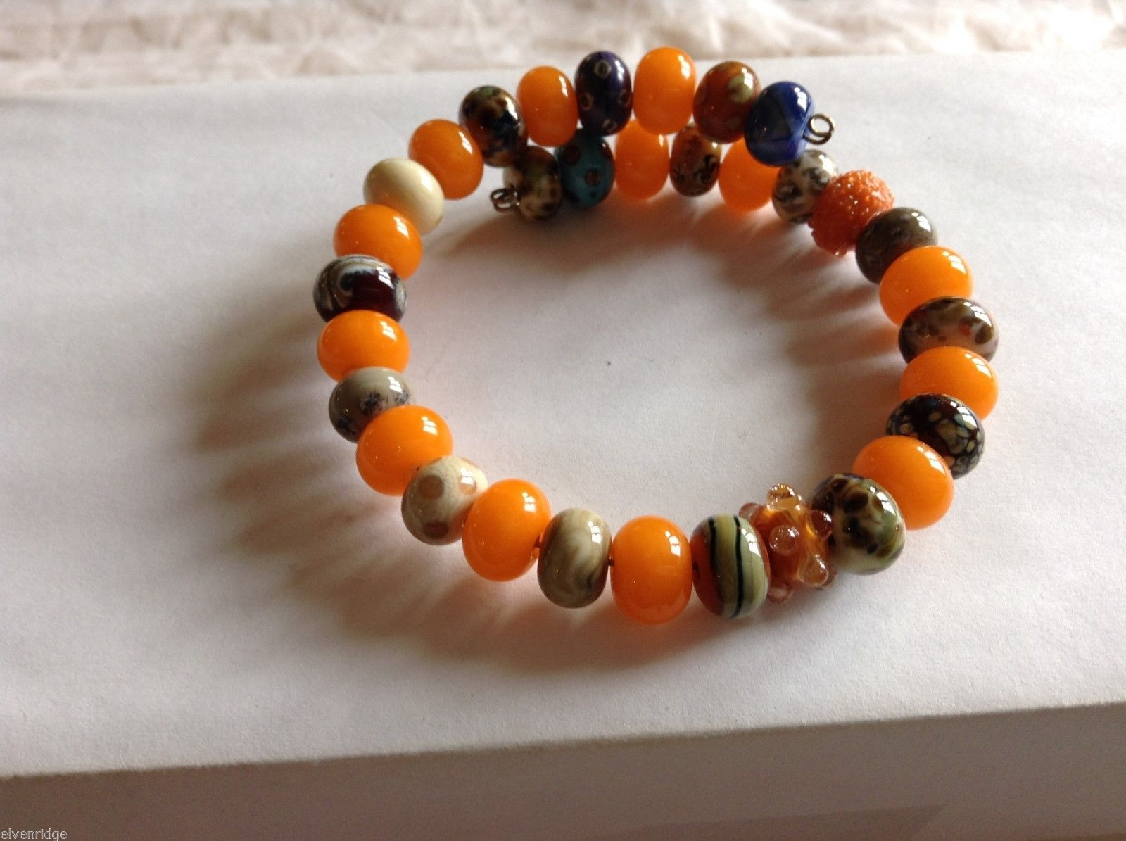 Handmade Orange Beaded Bracelet, 8-1/2""