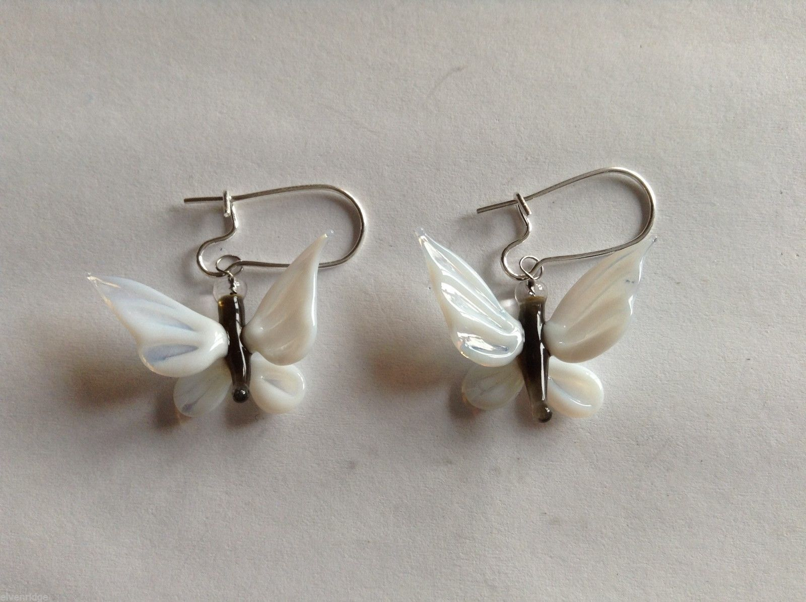 Glass blown butterfly dangly earrings, 3/4 X 1""