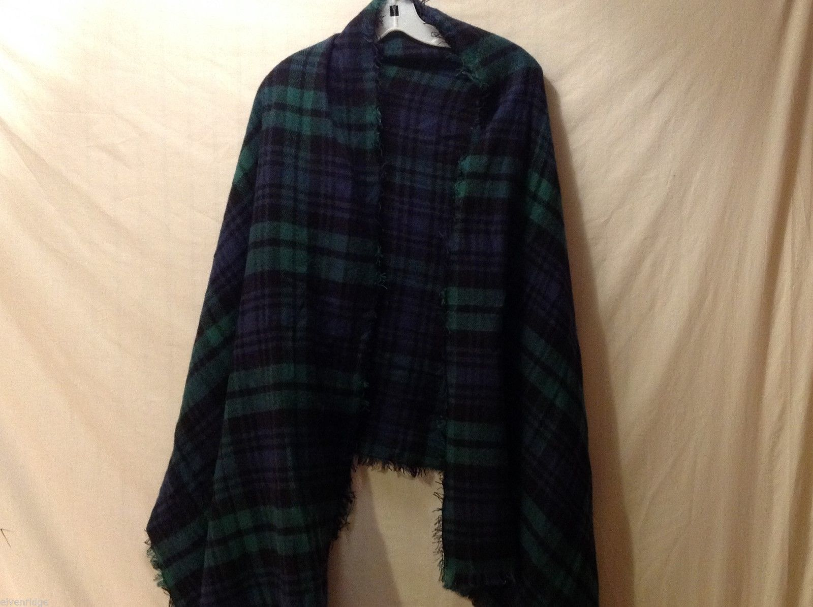 Merona Green, Black and Blue Plaid Scarf/Shawl, 82X32