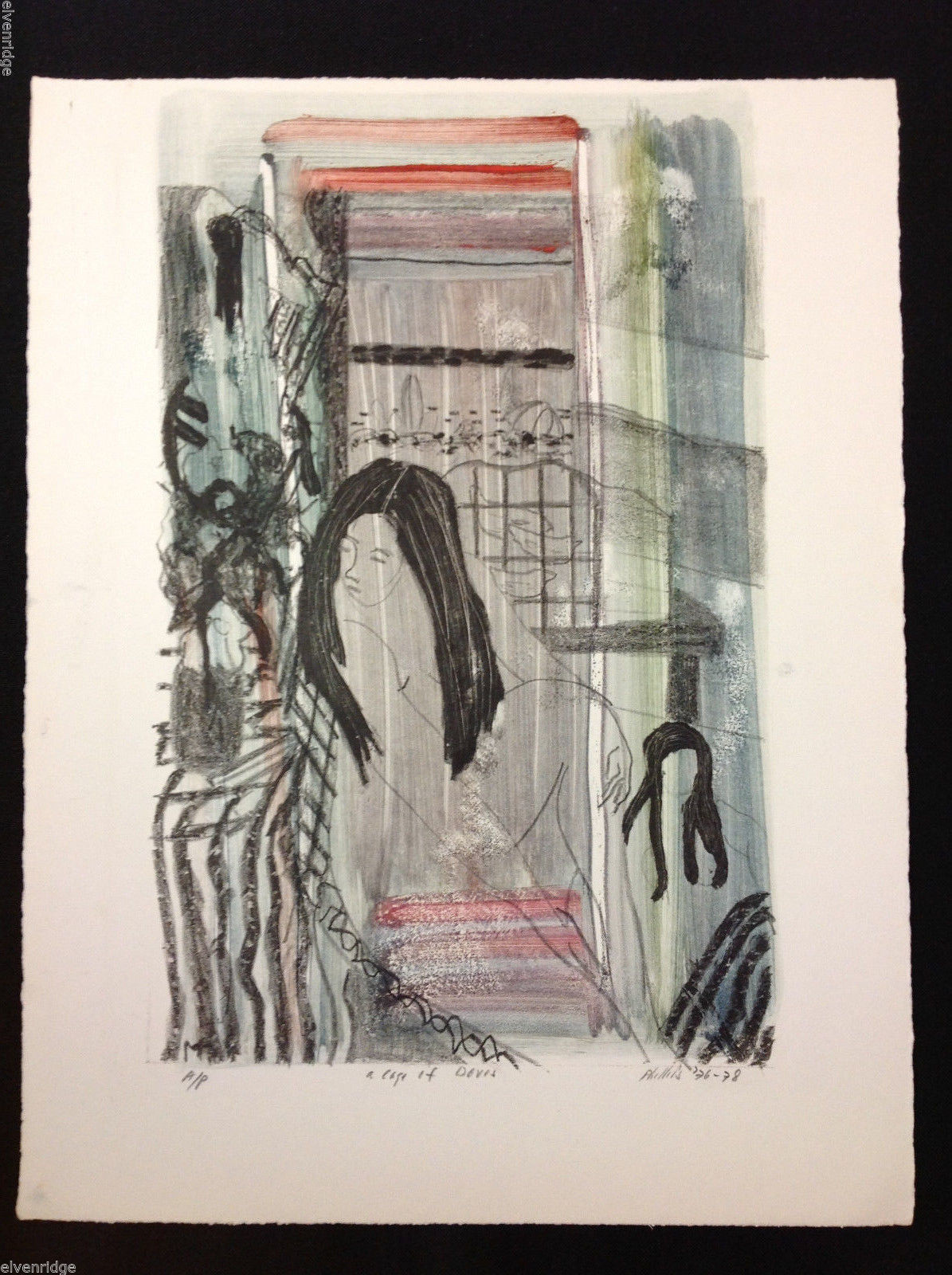 "M. Phillips ""A Cage of Doves"" Mixed Media Painting Watercolor Charcoal Signed"