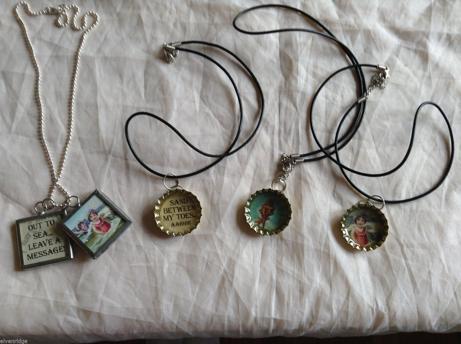 Lot of 4 necklaces, bottle cap square charms, 8-1/2 inches sea shore ocean beach