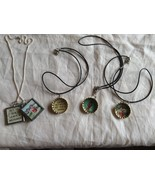 Lot of 4 necklaces, bottle cap square charms, 8-1/2 inches sea shore oce... - $39.99