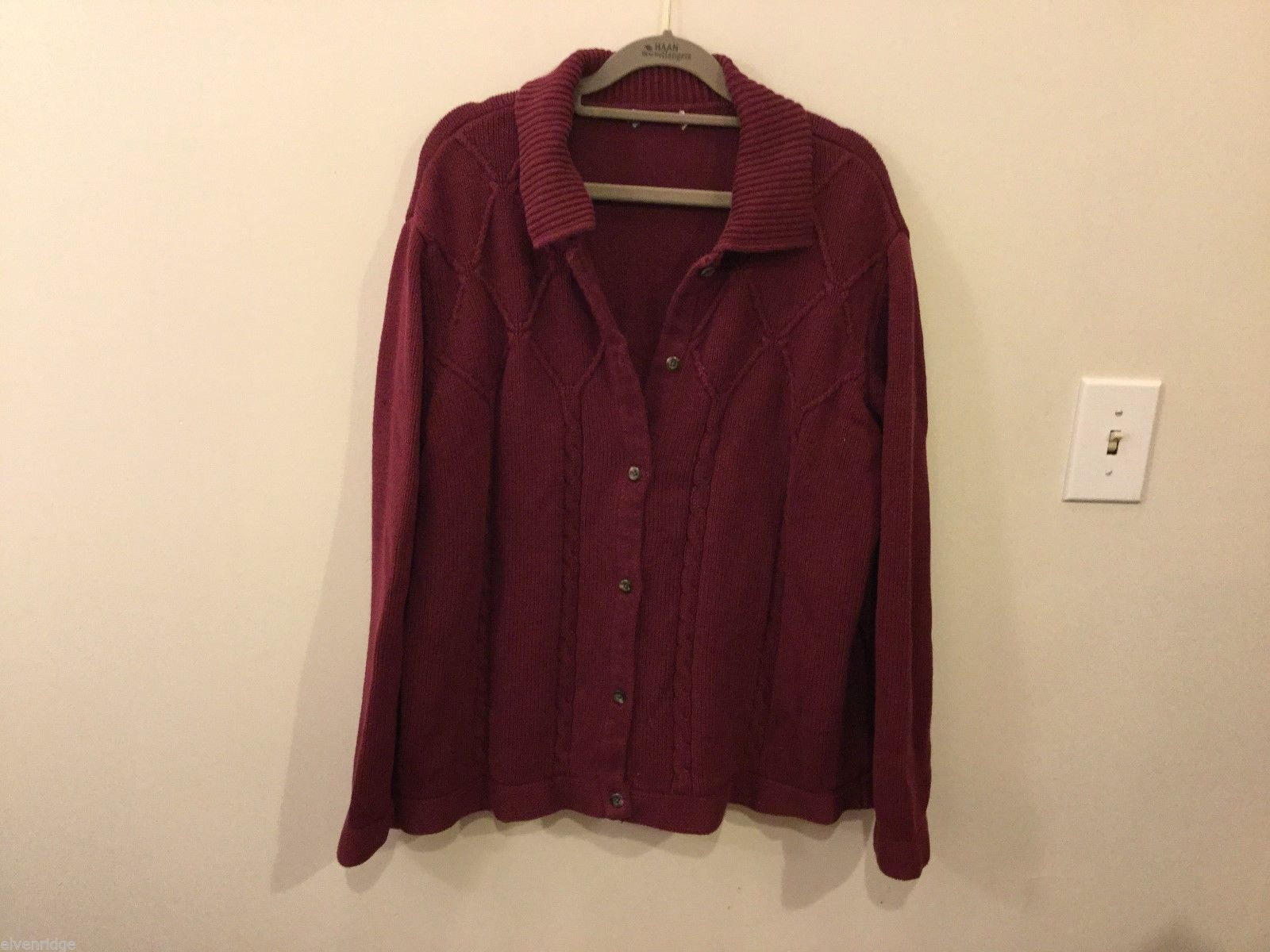 Unisex Burgandy Thick Cardigan Sweater, See measurements for size