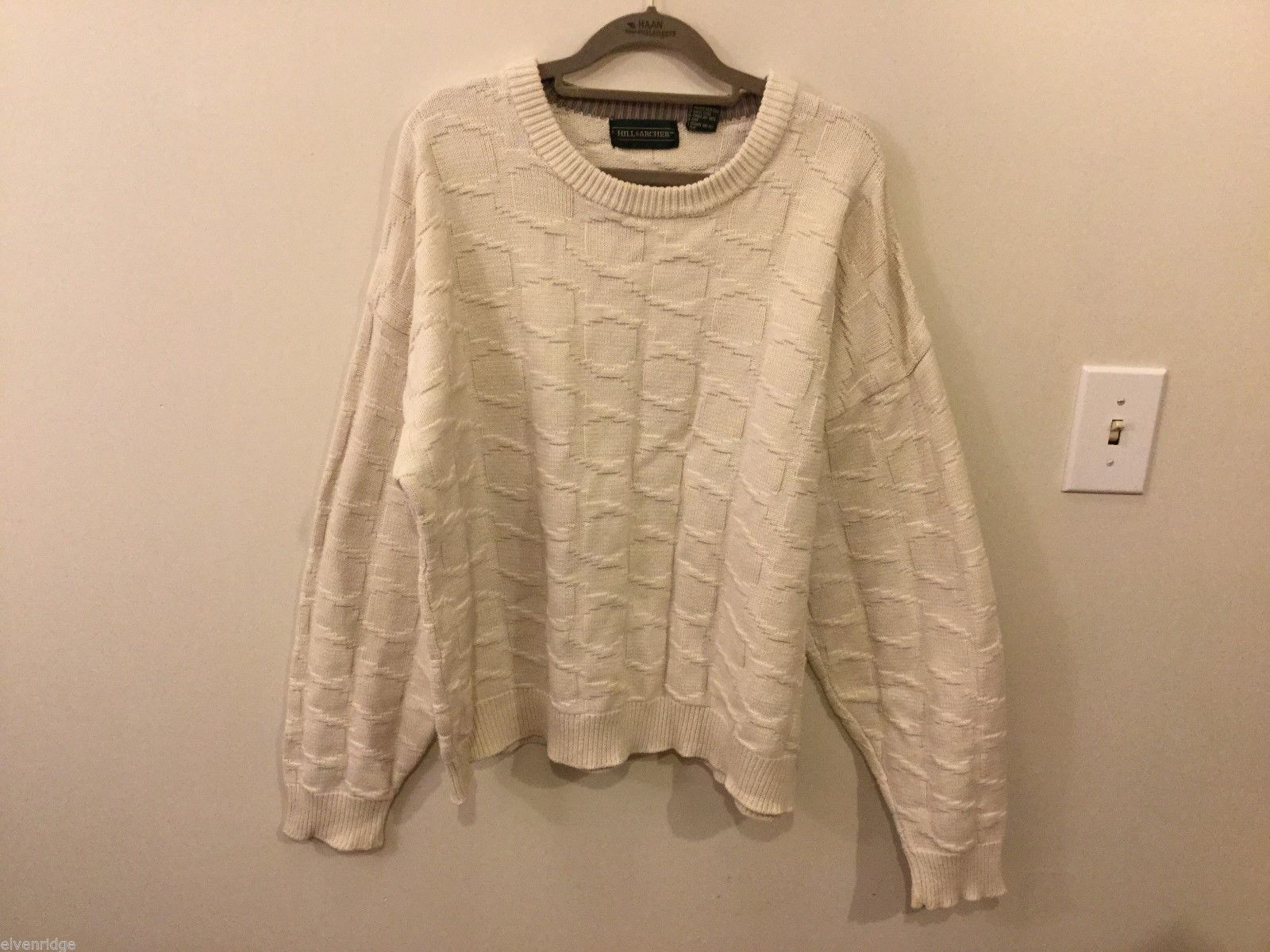 Unisex Hill & Archer White Crewneck Sweater, Size XL