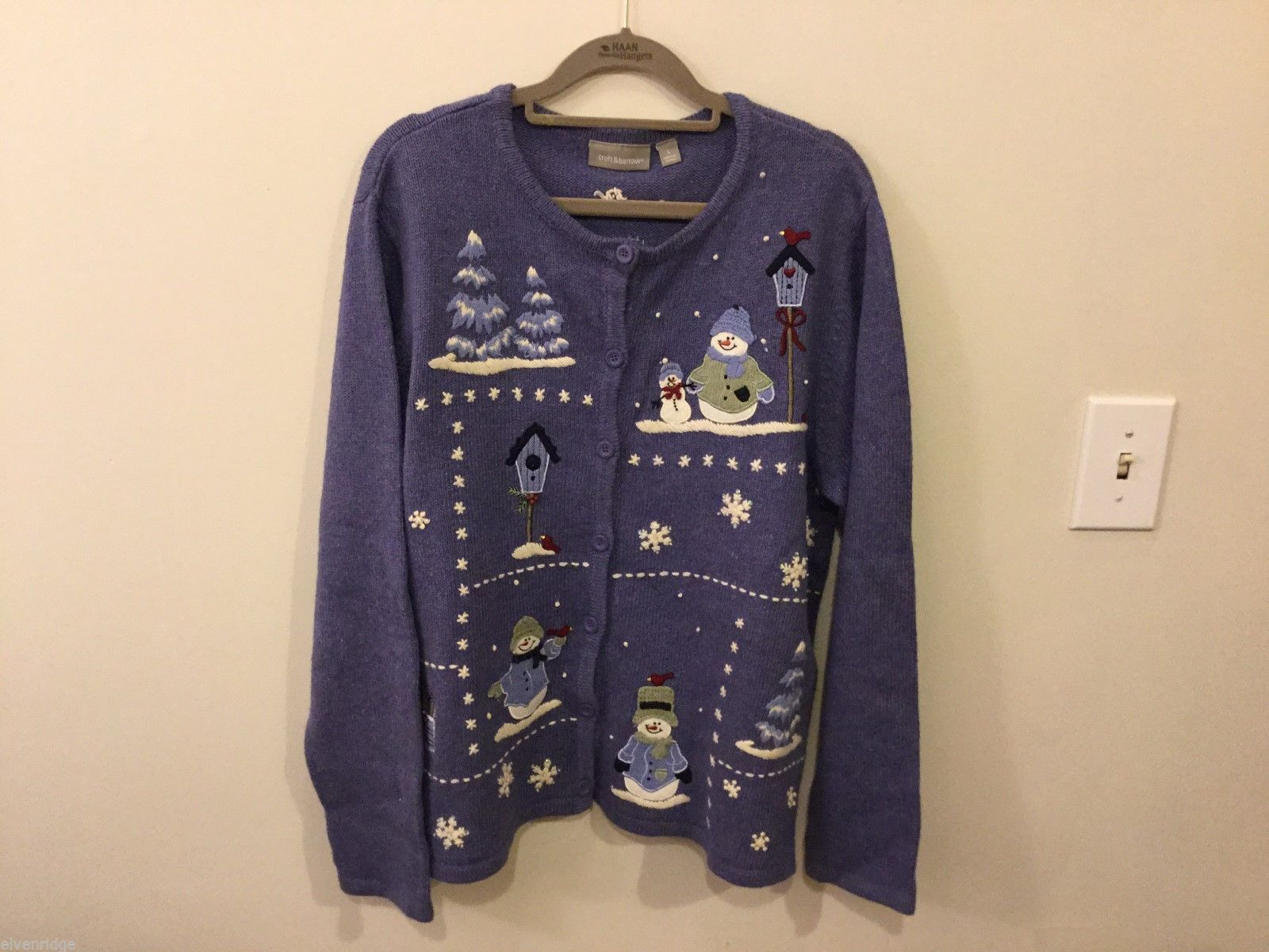 Womens Croft & Barrow Blue Winter Designed Cardigan, Size Large