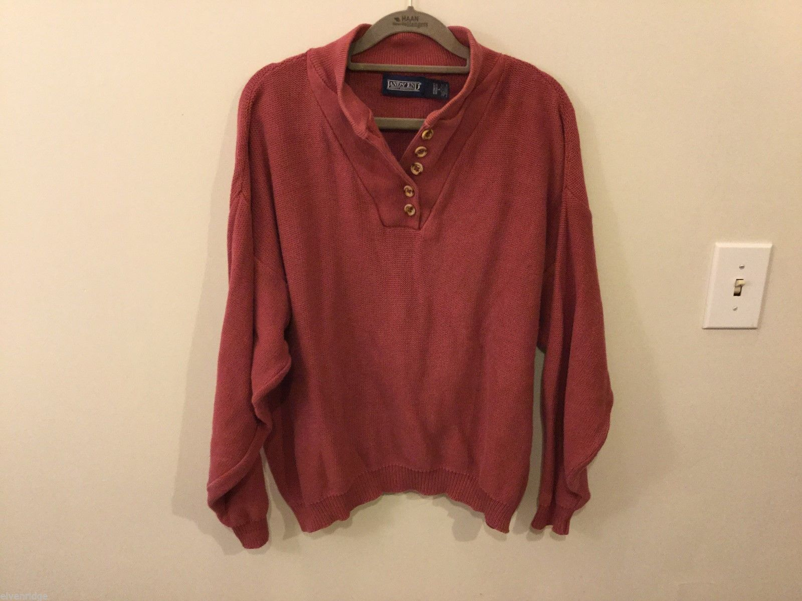 Womens Land's End Rose Pink Collared Sweater, Size Large