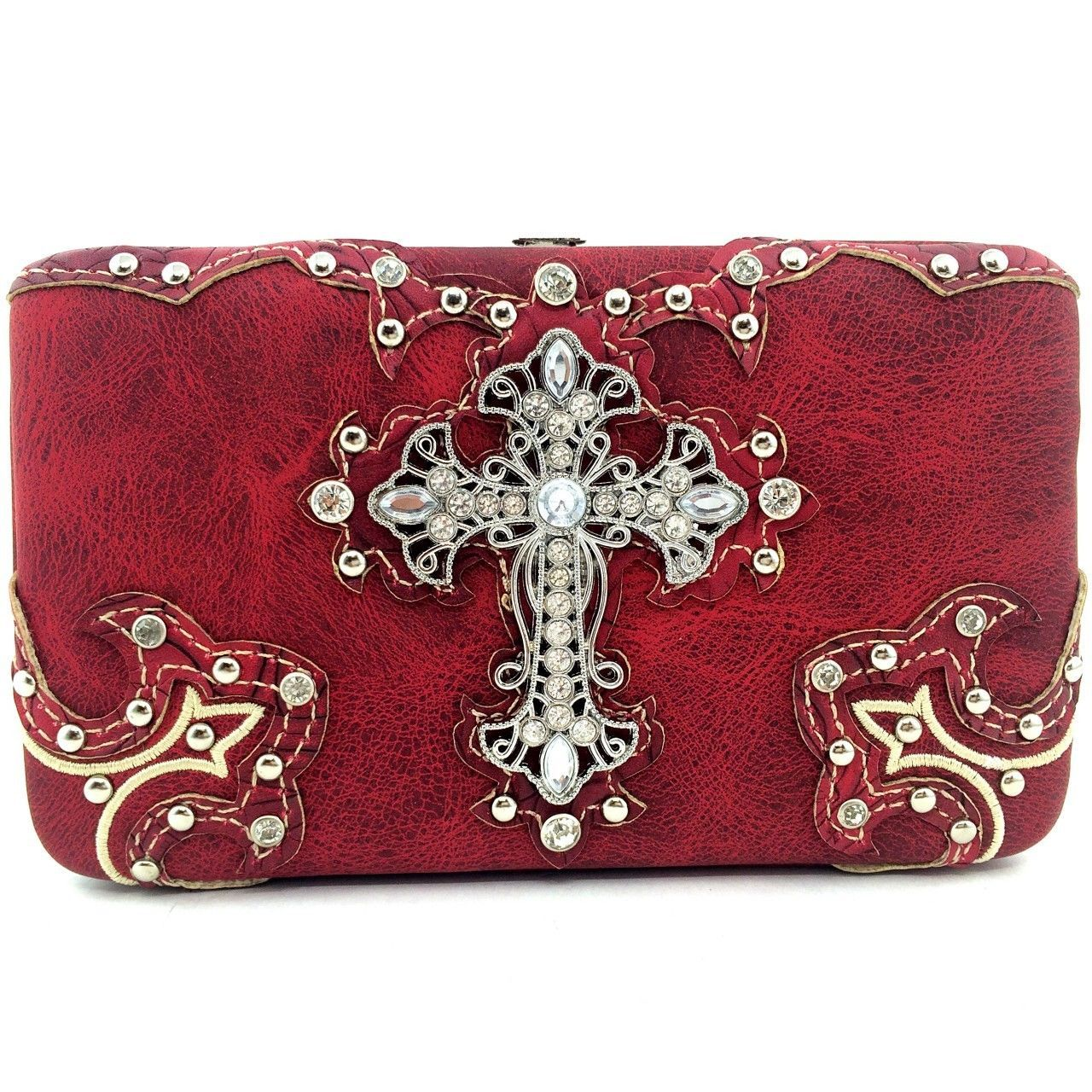 Cowgirl Western Studded Rhinestone Cross Flat Wallet Clutch Purse