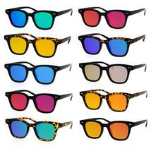 SA106 Small Snug Flat Color Mirror Retro Horned Rim Sunglasses - $12.95