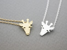 Cute Giraffe Face Pendant Necklace In Silver/ Gold, N0944G - $11.50