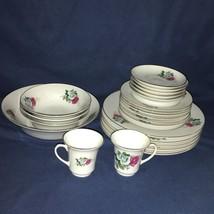 EUC Vintage C. Art HK CKZ3 Green & Pink Roses w Gold Rim 22 Piece Dish C... - $74.24