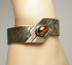 Sterling Large Cuff bracelet Tigereye Wide with relief artisan  mens wom... - $225.00
