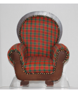Mini Red Tartan Plaid Doll Armchair Furniture w... - $19.99