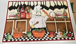 Set of 4 Vinyl NON CLEAR Placemats, FAT CHEF MIXING SALAD, KT - $21.77