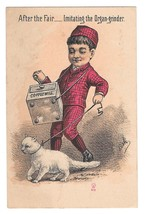 Victorian Trade Card Organ Grinder Cat Mathias Bros York PA Grocer Confe... - $7.95