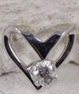 Sterling Silver Heart Slider Pendant Round Cut CZ 0.9g  - $19.97