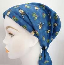 Chickadees & Holly Chemo Cancer Hair Loss Turban Hat Alopecia Cotton Head Scarf - $16.95