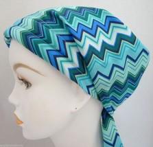 Turquoise Chevron Chemo Cancer Hair Loss Turban Hat Alopecia Cotton Head Scarf - $16.95