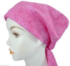 Cheerful Pink Floral Cancer Hat Alopecia Hair loss Scarf Turban Head Wrap Cover - $16.95