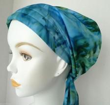 Hand Dyed Batik Chemo Cancer Hats Alopecia Hair Loss Scarves Turban Head Wrap - $16.95
