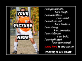 Personalized Custom Inspirational Soccer Sports Poster Motivational Wall... - $29.99+