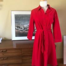 Vtg 90s Red Cotton Corduroy Button Up  Shirt Dress  S-M - $23.76