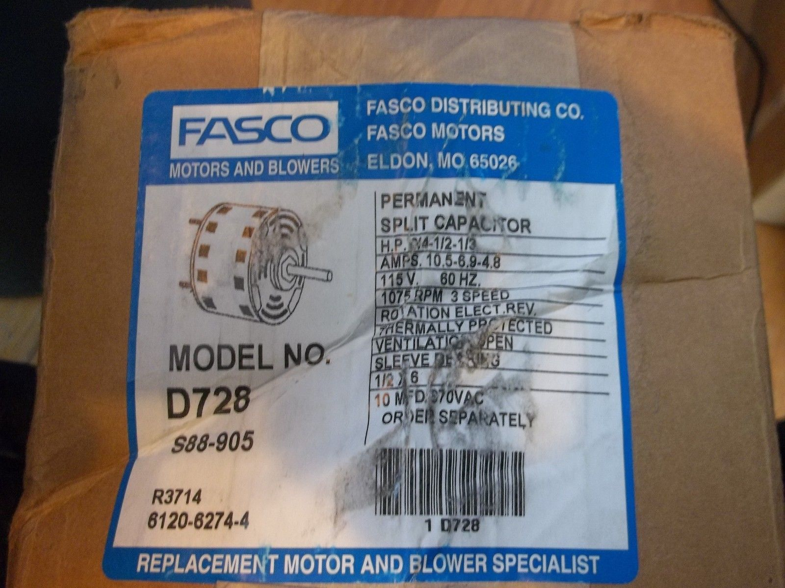 Fasco Model No. D728 3-speed 3/4-1/2-1/3 and 50 similar items