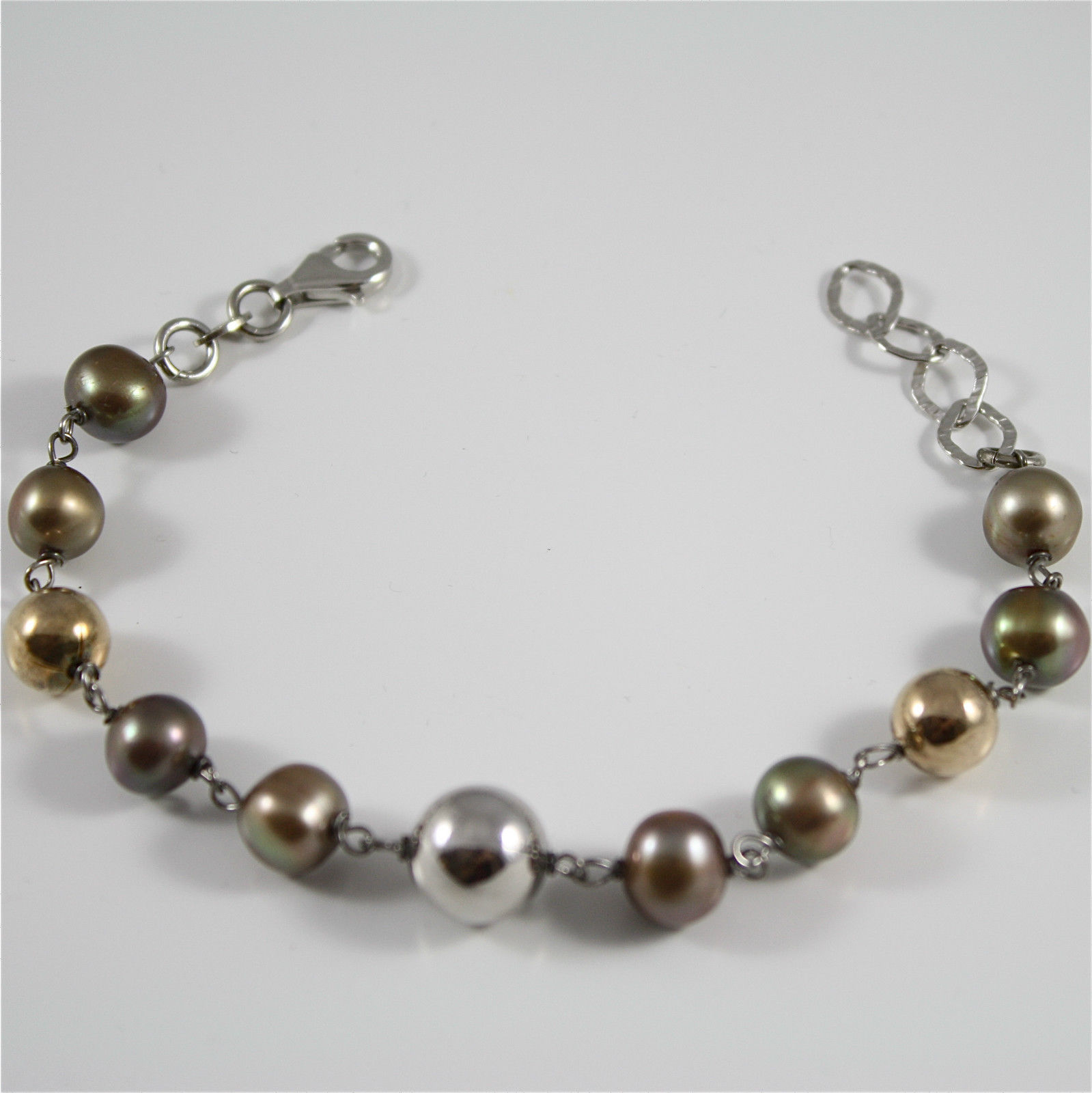 Bracelet in Sterling Silver 925 Gold Plated and Rhodium with Pearls Brown and...