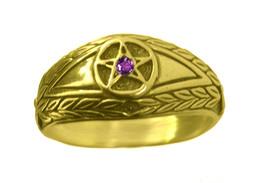 New amethyst stone Evil Eye wealth to positive ring Pentagram 24K Gold P... - $30.04