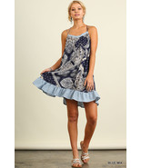 Umgee Blue Boho Print Ruffle Hem Dress S,M,L - $32.00