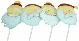 New Set of 4 Christmas Painted Metal Santa Claus Stakes - $9.95