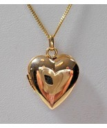 "Tiffany & Co 14K Yellow Gold Heart Locket Pendant 16-18"" Necklace w/ Pou... - $1,227.04"